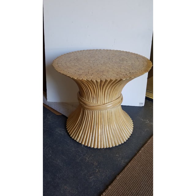 McGuire 1970s Hollywood Regency McGuire Natural Rattan Bamboo Sheaf of Wheat Table For Sale - Image 4 of 4