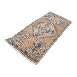 1970s Vintage Handwoven Turkish Pastel Small Bed Side Yastik Rug Carpet - 1′6″ × 3′ For Sale