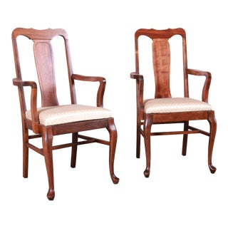 Vintage Queen Anne Mahogany Armchairs - a Pair For Sale