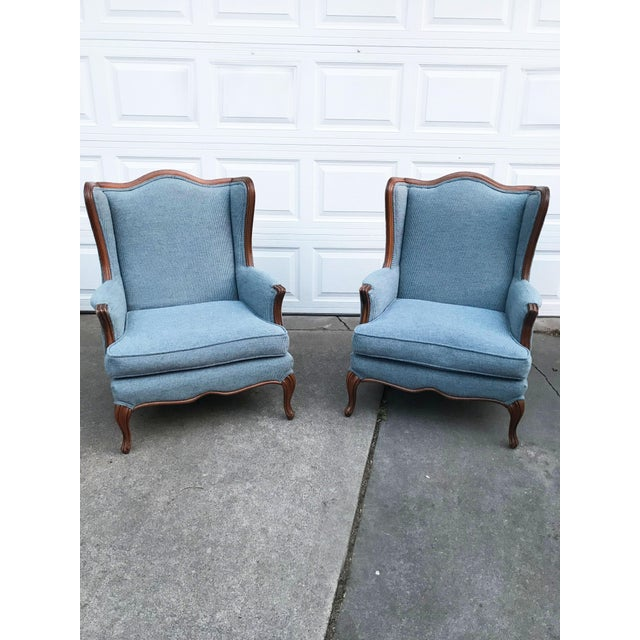 Vintage Light Blue Upholstered Bergere Chairs - A Pair - Image 9 of 10