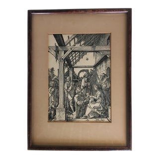 "Mid 19th Century Antique Albrecht Durer ""The Adoration of the Magi"" Reproduction Etching Print For Sale"