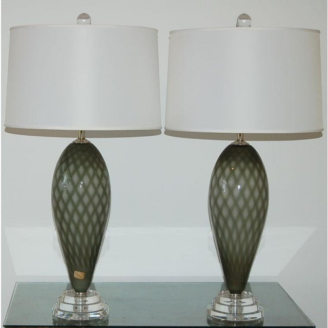 Italian Vintage Murano Glass Table Lamps Gray For Sale - Image 3 of 9