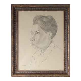 Monochromatic Portrait of a Boy Graphite Drawing, Circa 1947 For Sale