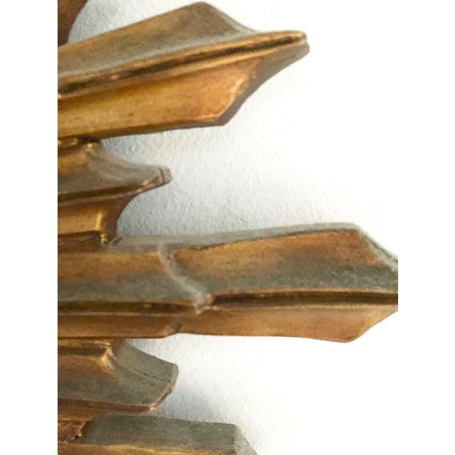 Large Antique Wood Convex, Starburst Mirror For Sale - Image 4 of 8