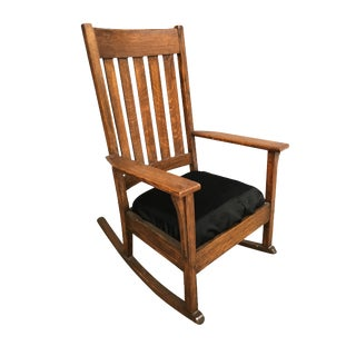 Mission Chestnut Slat Back Rocking Chair by National Chair Co. For Sale