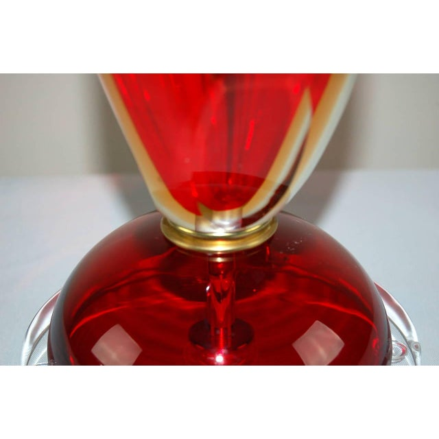 Vintage Murano Glass Table Lamps Sommerso Red For Sale - Image 10 of 10