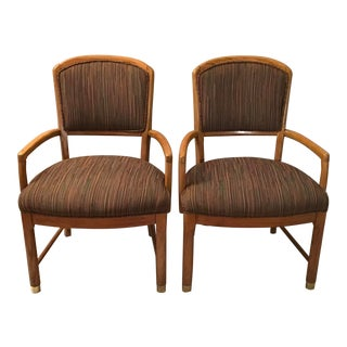 1970s Vintage Mid-Century Modern Oak Arm Chairs- A Pair For Sale