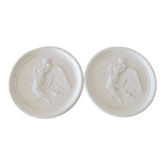 Pair of Vintage Bisque Plaster Intaglios For Sale