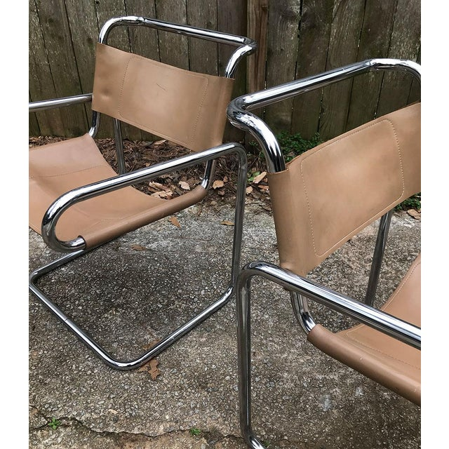 Ralph Rye for Dunbar Leather and Chrome Sling Chairs - a Pair For Sale - Image 9 of 12