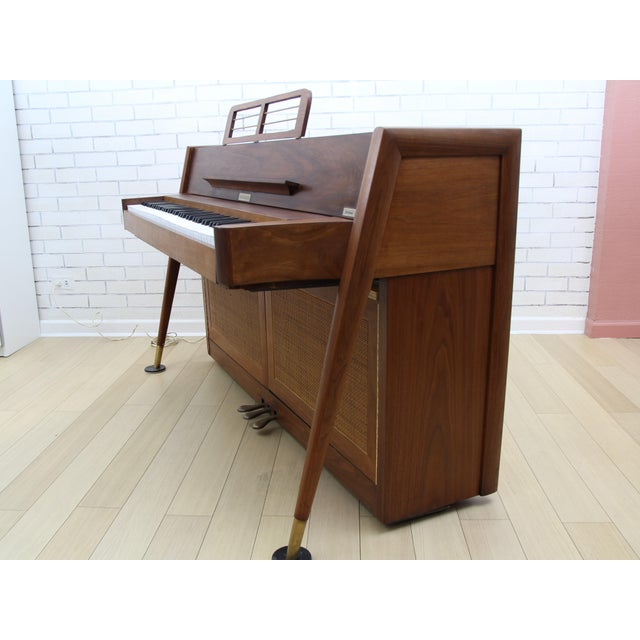 Truly one of a kind. Mid-Century Modern Teak Piano Bar with wine storage, made from a Vintage Baldwin Acrosonic Piano. It...