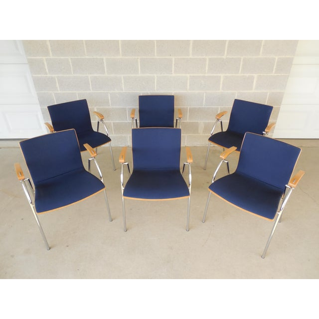 Features high quality construction, bent wood and chrome design features, sapphire shade fabric approx 10 years old...