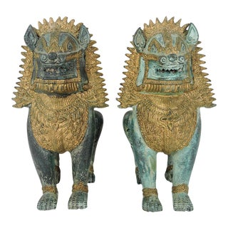 Vintage Asian Khymer Style Bronze Singha Temple Lion Statues- a Pair For Sale