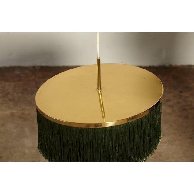 Hans-Agne Jakobsson Green and Brass Fringe Ceiling / Pendant Lamp, Sweden, 1960s For Sale In Philadelphia - Image 6 of 7