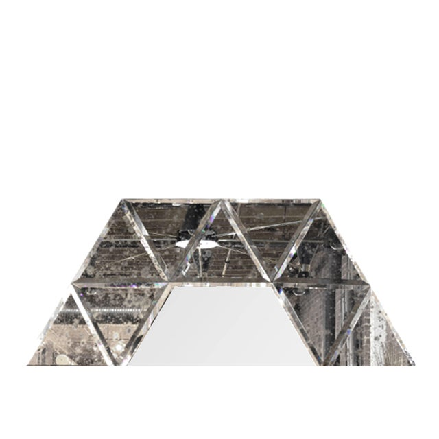 Large Hexagonal Antiqued Mirror For Sale In New York - Image 6 of 8