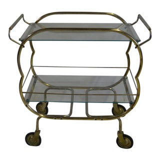 Vintage French Design Glass and Brass Bar Cart