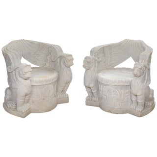 Pair of Empire Style Carved Marble Chairs For Sale