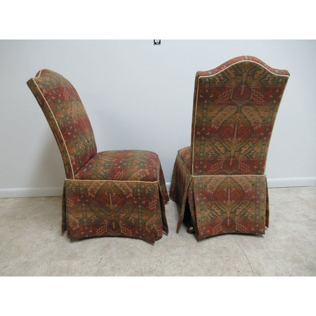 Textile Ethan Allen American Impressions Parson Dining / Side Chairs - a Pair For Sale - Image 7 of 11