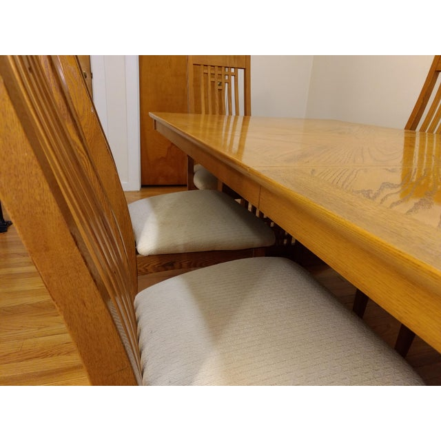 Americana Natural Finish Solid Oak Dining Set For Sale - Image 3 of 7