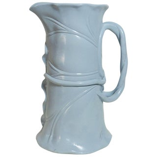 19th Century Victorian Banana Leaf Blue Majolica Pitcher For Sale