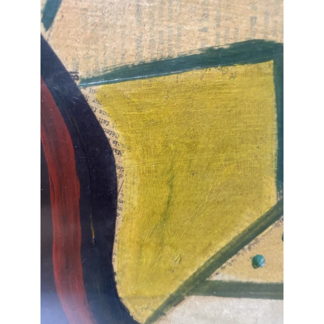 1956 Cubist Guitar J Lacoste Mixed Medium on Board Painting For Sale - Image 9 of 13