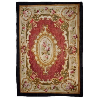 1860s, Handmade Antique French Abussan Flat-Weave For Sale
