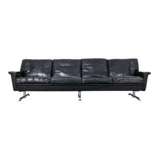 1970s Danish Modern Leather Sofa For Sale