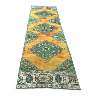 Mid Century Vintage Green & Orange Oushak Turkish Rug- 3′1″ × 11′3″ For Sale