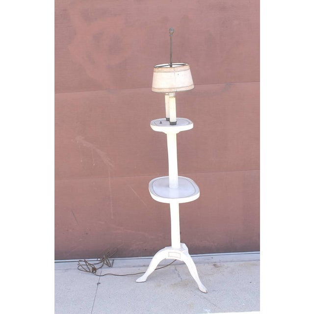 Tan Amazing White Painted Floor Lamp with Tole Painted Tin Shade For Sale - Image 8 of 10
