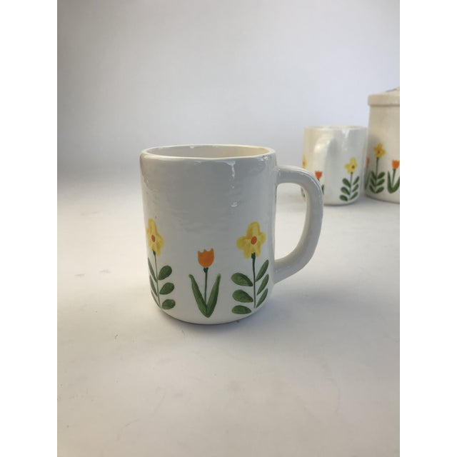 Paint White 1960's Japanese Coffee Cups and Canister - Set of 5 For Sale - Image 7 of 11