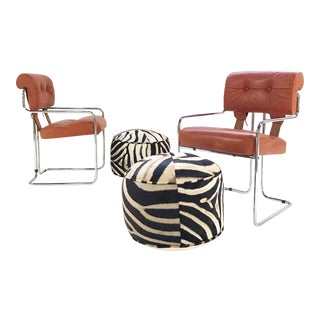 Italian Leather Tucroma Chairs by Mariani for Pace Collection With Zebra Hide Pouf Ottomans - Set of 4 For Sale