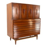 Image of Merton Gershun for American of Martinsville Mid Century Walnut and Brass Louvered 5 Drawer Highboy Dresser For Sale
