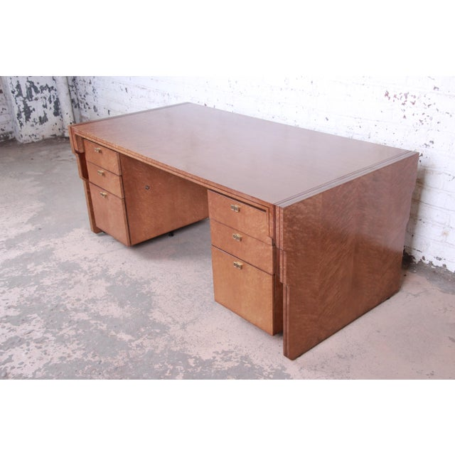 Pierre Paulin for Baker Furniture Bird's-Eye Maple and Walnut Inlay Art Deco Executive Desk For Sale - Image 13 of 13
