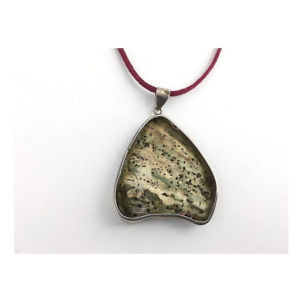 Abstract Abalone Shell Sterling Pendant Necklace For Sale - Image 3 of 7