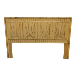 Boho Chic Island Style Rattan Queen Size Headboard For Sale