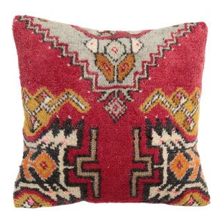 Turkish Red Oushak Carpet Pillow For Sale