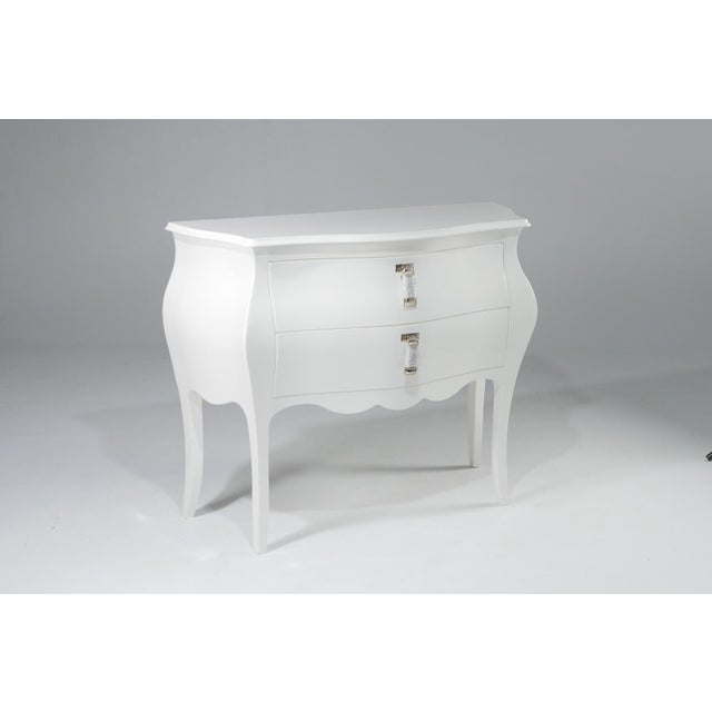 Super dramatic and glamorous creamy laquer bombe style chest with two drawers, chrome-plated brass and leather braided...