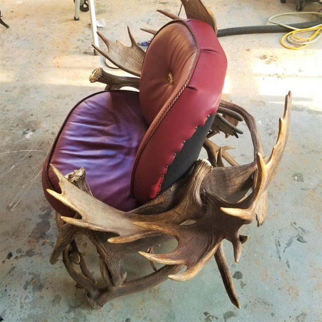Farmhouse 1990s Vintage Moose Antler Chair For Sale - Image 3 of 10