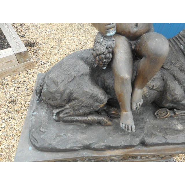 Bone Elegant Bronze Statue of a Child and a Goat on a Column For Sale - Image 7 of 11