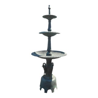 Large Cast Iron Three-Tier Fountain With an Egret Base For Sale
