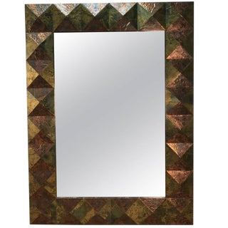 Large Copper and Brass Clad Faceted Mirror For Sale