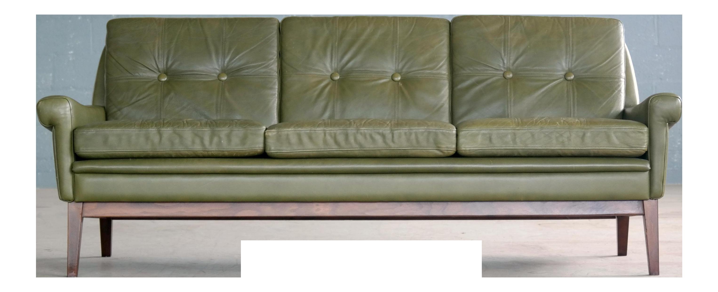 Svend Skipper Three Seat Sofa In Green Leather, Denmark, 1960s