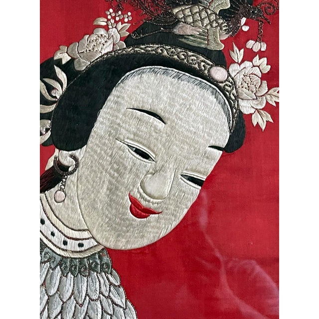 Mid 19th Century Framed Chinese Embroidery Panel of Longevity Deities For Sale - Image 5 of 13