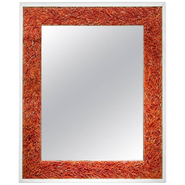 Contemporary Kam Tin, Coral and Opaline Glass Mirror, France, 2017 For Sale - Image 3 of 3