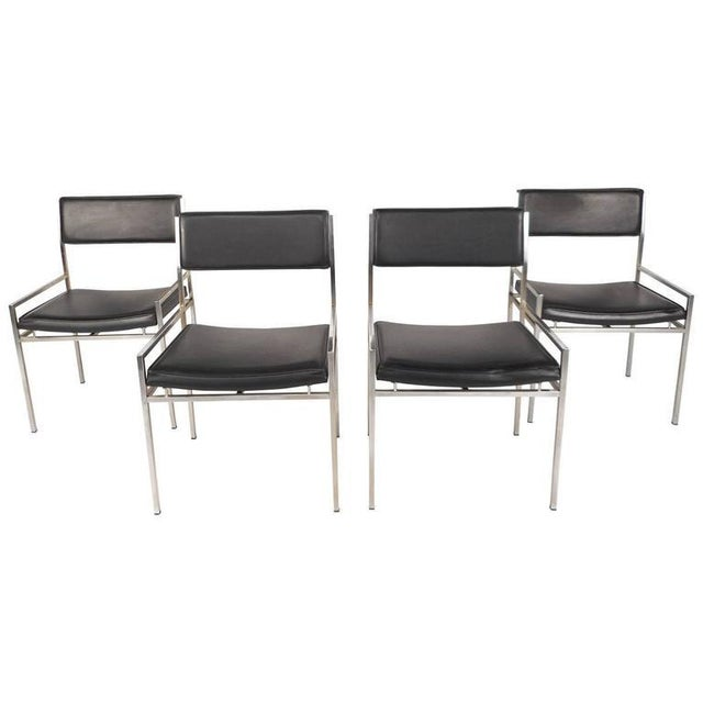 Mid-Century Modern Chrome & Vinyl Dining Chairs - Set of 4 For Sale - Image 10 of 10
