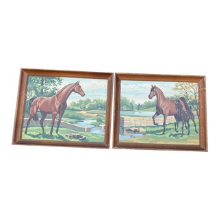 Vintage Paint by Numbers Horse Paintings - a Pair For Sale