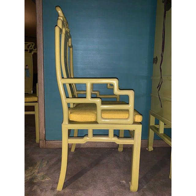1960s Vintage Yellow Wooden Hand Painted Asian Decorative Chairs- A Pair For Sale - Image 9 of 13