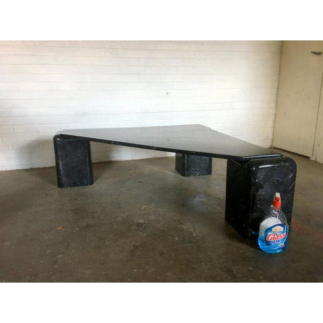 Black Marble Triangular Cocktail Table For Sale - Image 4 of 8