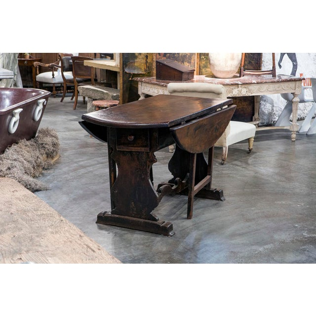 Italian Walnut Dropleaf Table For Sale In Greensboro - Image 6 of 6