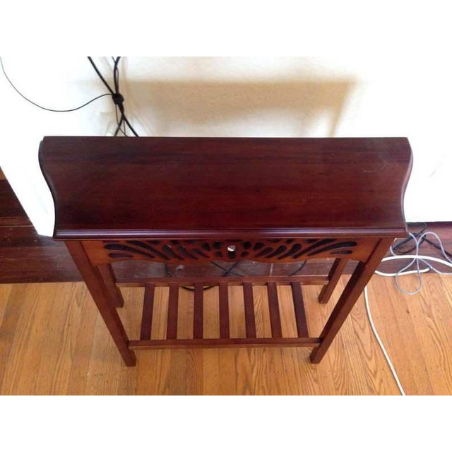 Contemporary Open Carved Mahogany Console Table - Image 3 of 5