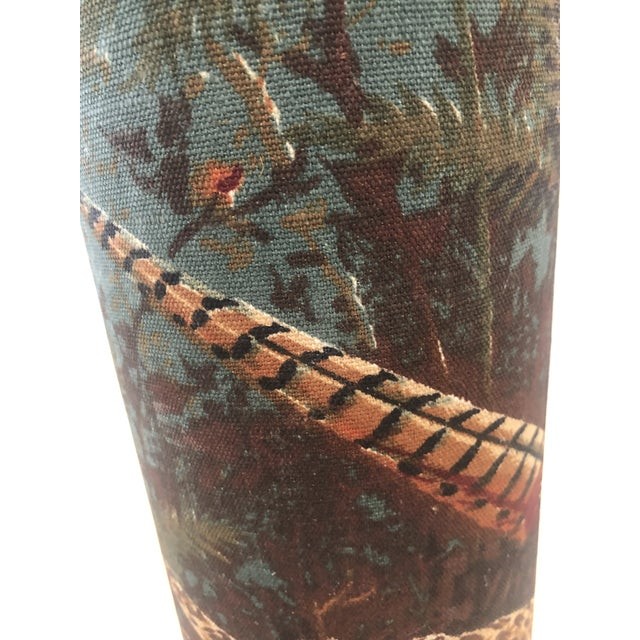 Linen American Pheasant and Hen Lamp-Ralph Lauren Style For Sale - Image 10 of 11